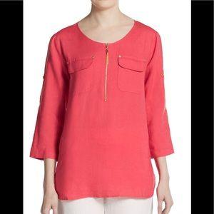 Ellen Tracy   Roll-Sleeve Linen Shirt~XL